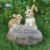 Custom animal figurines garden decoration resin cute welcome rabbit, polyresin rabbits figurine outdoor welcome sign&