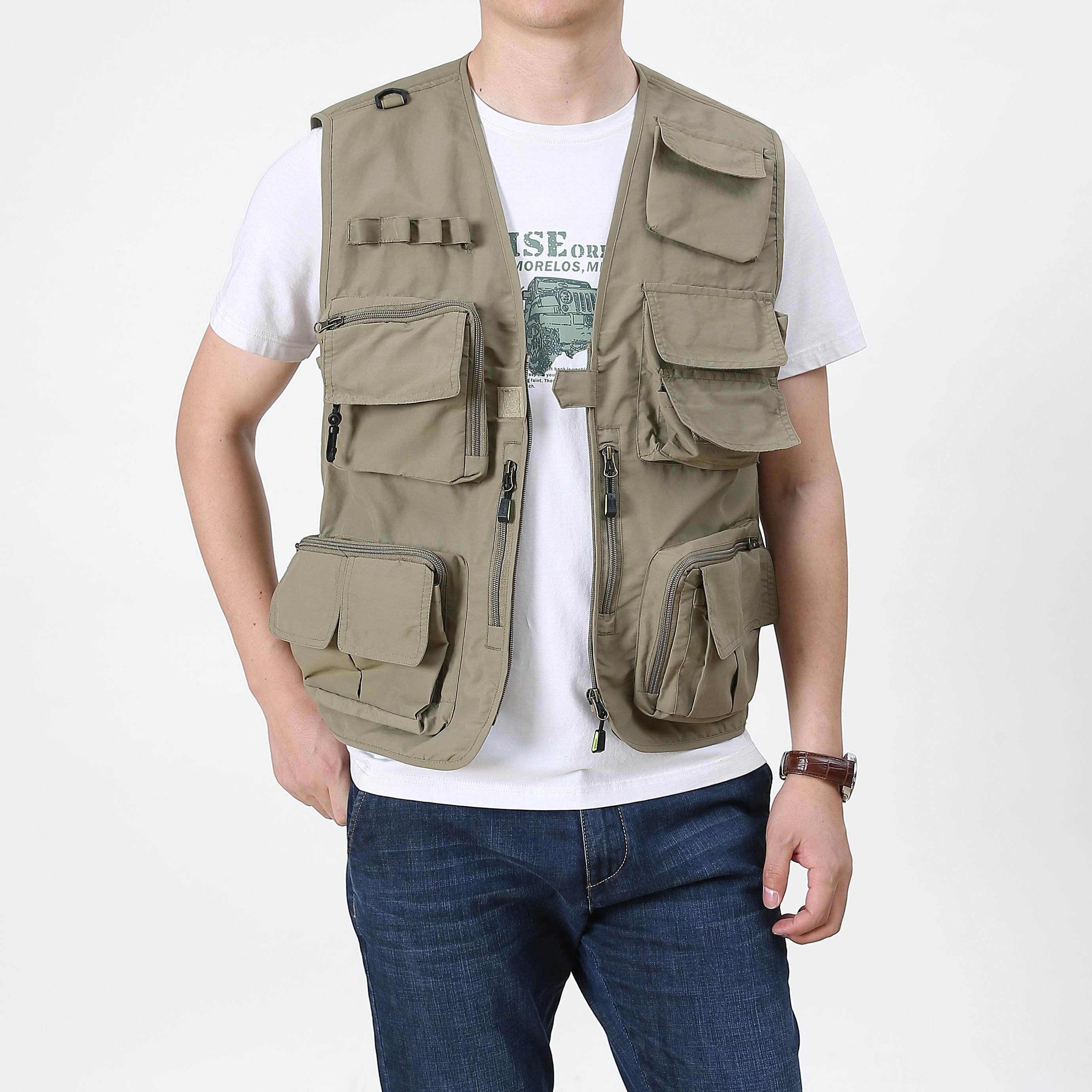 Hot Sale Practical Side Fish Net Fishing Hiking Spring&Autumn Plain Color Men Outwear Outdoor Vest Jacket