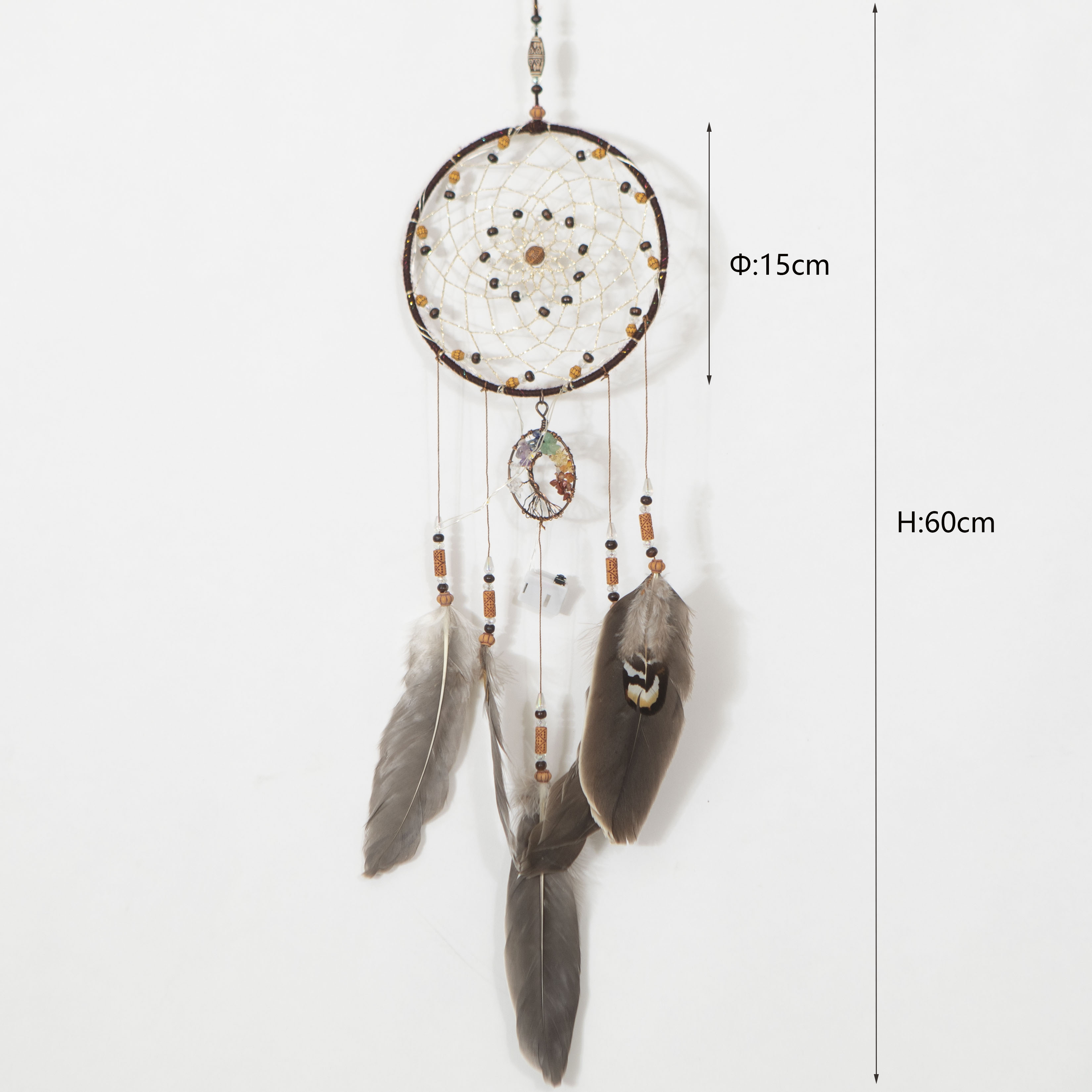 Dropshipping Handmade Owl Feather Gemstone Dreamcatcher Wall Hanging Tree of Life Dream Catcher
