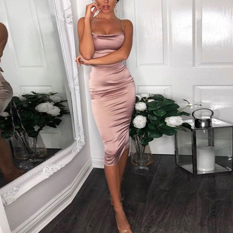 European and American style sexy candy color satin bread hip dress tight halter dress Women's dress
