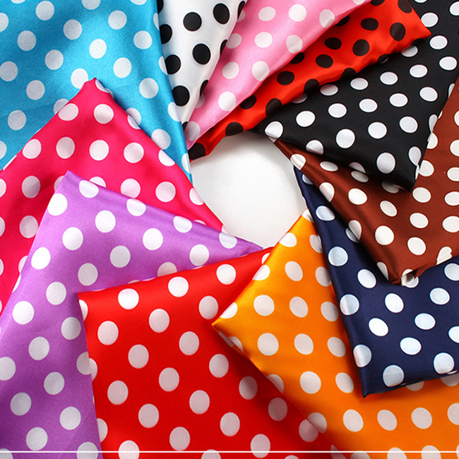Cheap price shiny soft smooth 1cm big size polka dot satin fabric for bow tie gift decoration