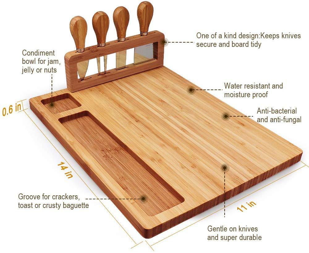 Оптовая продажа, набор из бамбуковой доски для сыра и ножей, деревянная разделочная доска из бамбука