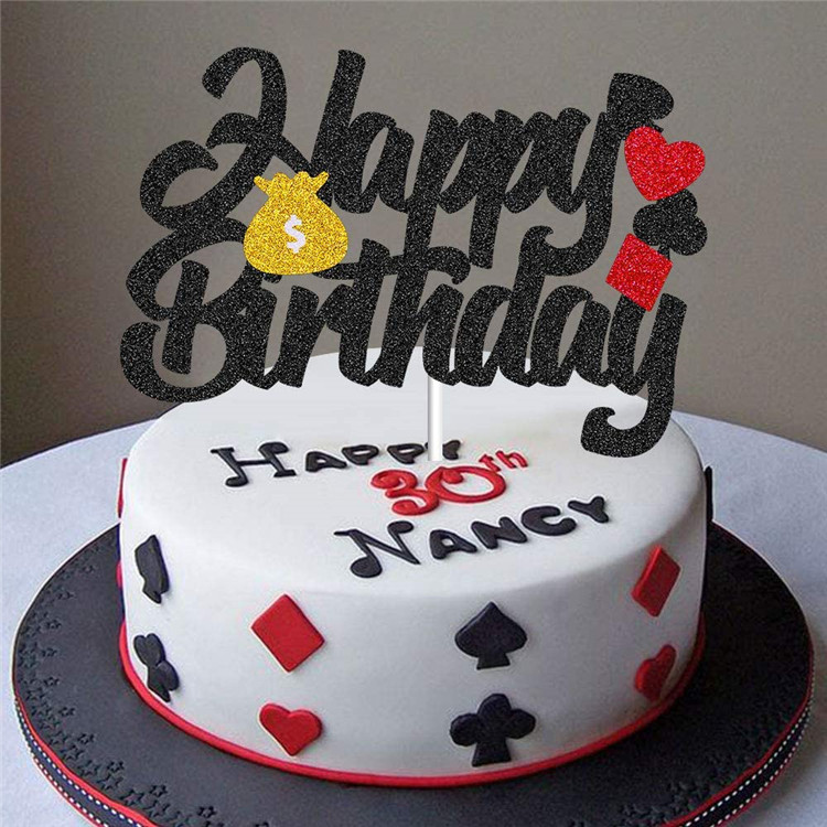 All In Poker Party Birthday cake topper