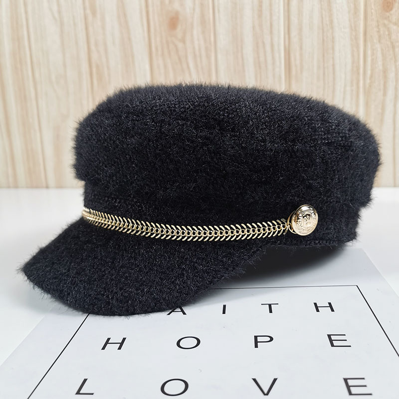 2020 Winter Autumn Womens Mink Cashmere Fiddler Caps Military Cadet Hat