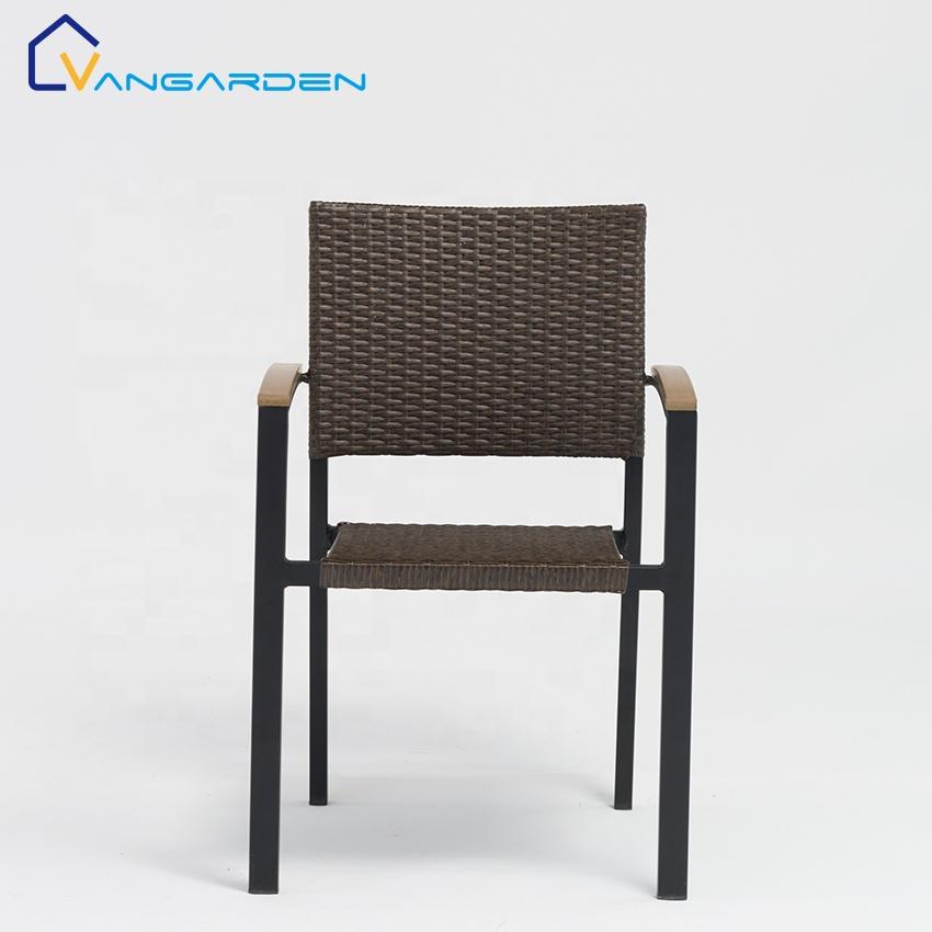 Best Sale Modern Restaurant Outdoor Furniture Metal Aluminum Poly Wicker Rattan Dining Chair