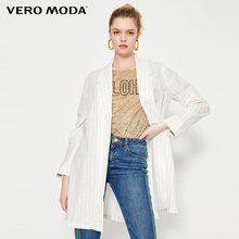 Vero Moda Женский хлопковый льняной пиджак полоску лацканами блейзер | 319208507(Китай)