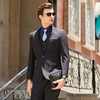 Men black suits(blazer+Vests+pants)