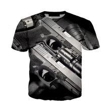 Новинка 2020, стильная футболка с 3D принтом в виде пистолета, уличная одежда с принтом пистолета для женщин и мужчин, летние топы в стиле хип-хо...(Китай)