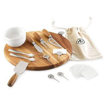 Picnic Time Cheese Board Bamboo Construction With Knifes and Porcelain Bowls