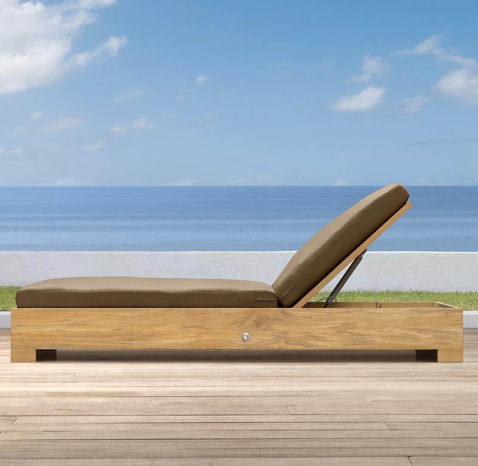 Популярная уличная мебель для сада, новая мебель для бассейна, деревянный шезлонг из тикового дерева