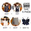 Royal blue Four-piece overcoat+vest-Girl