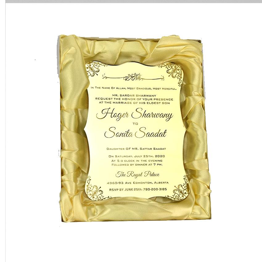 Бесплатный образец роскошной индивидуальной лазерной резки акриловой свадебной пригласительной открытки
