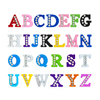 8mm Colored half rhinestone letters