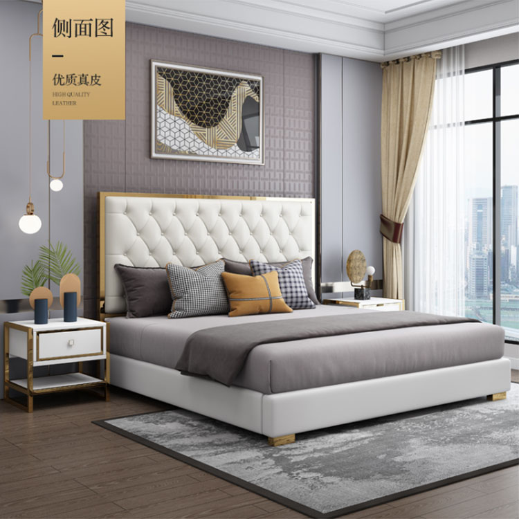 Italian light luxury double  bedroom modern simple high box storage air pressure soft marriage bed