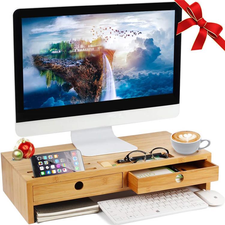 Эргономичный компьютерный органайзер для хранения, бамбуковая подставка для монитора, настольная подставка для монитора