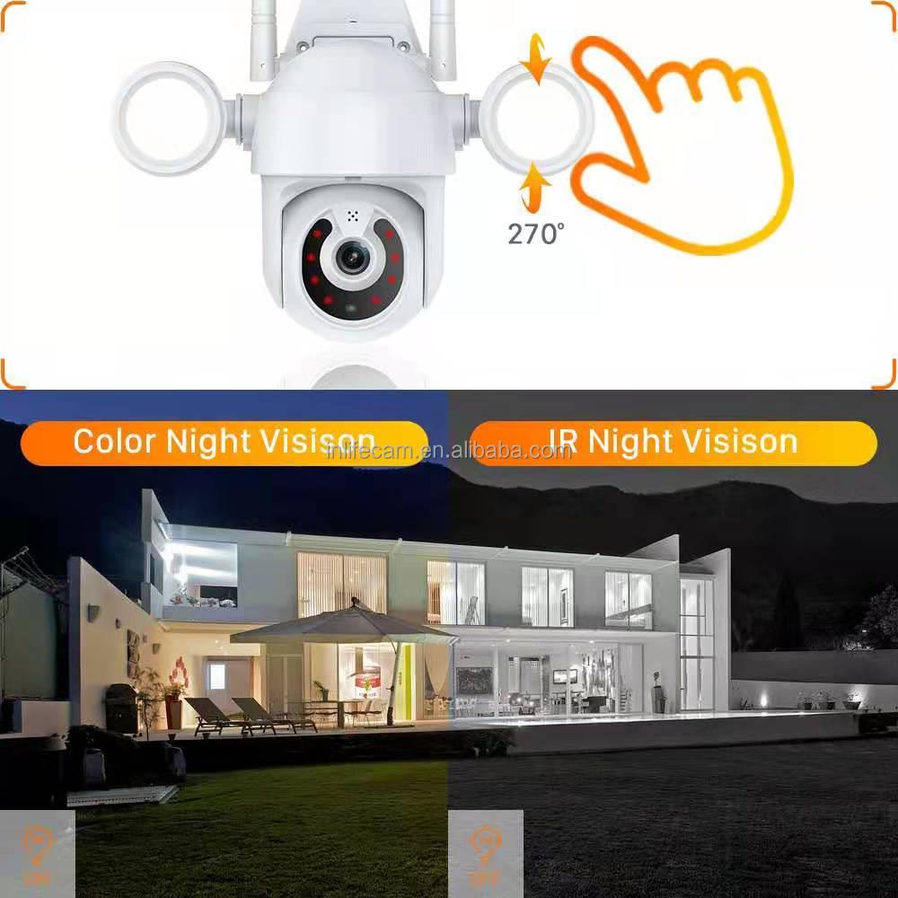 TUYA 2MP Wifi IP 1080P Security Wireless Camera Outdoor Full Color Night Vision Courtyard lights wifi ip PTZ camera