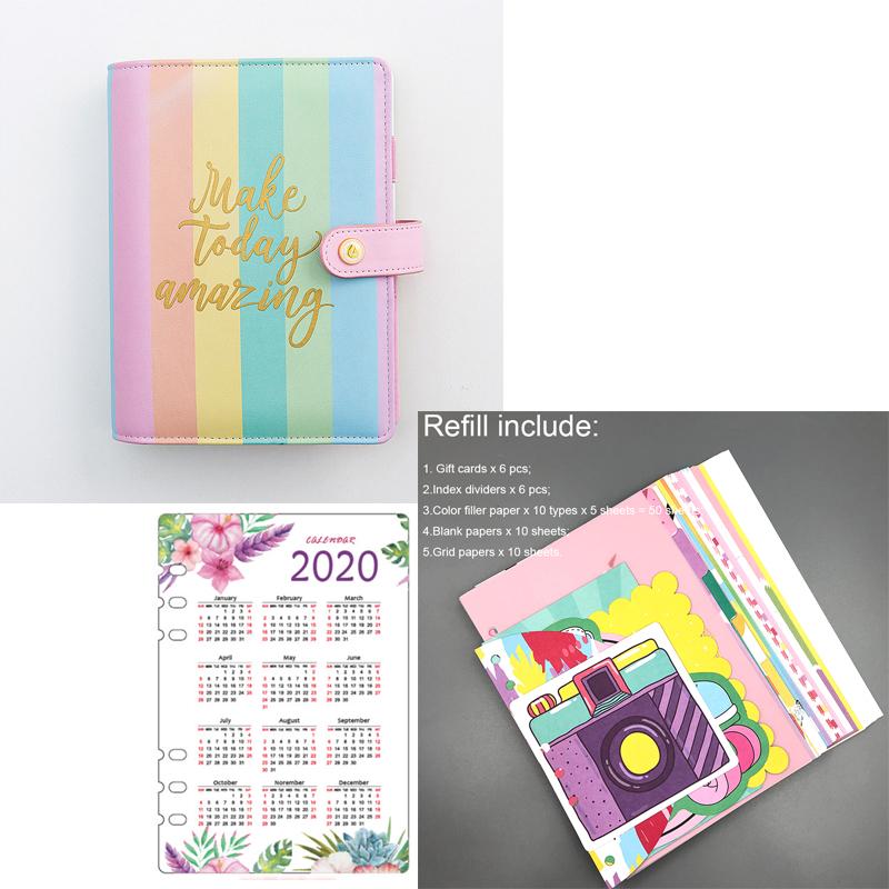 Lovedoki 2020 год планировщик повестки дня организатор корейский радуга цвет переплет ноутбук A5 журнал-дневник канцелярские товары для школы пос...(Китай)
