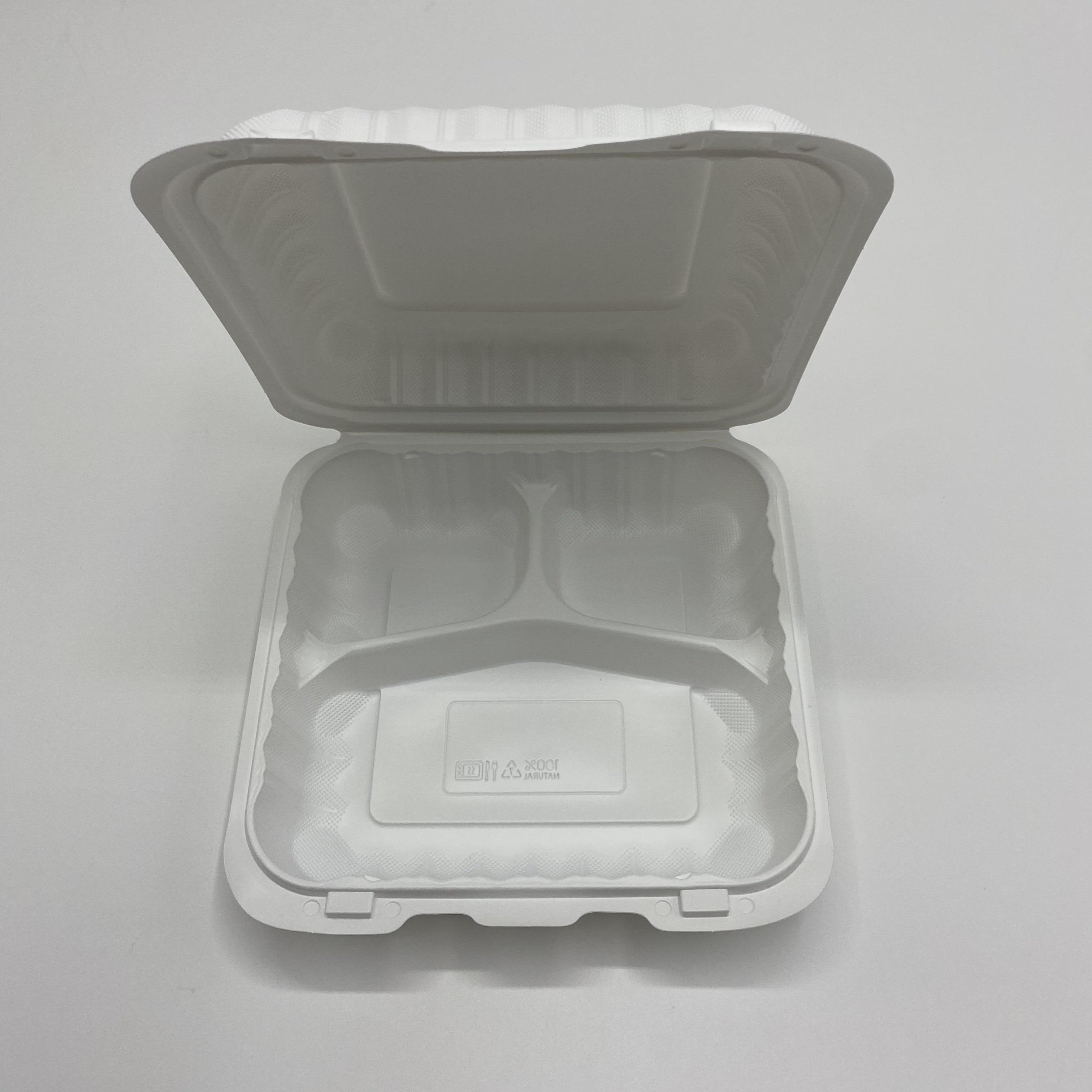 Биоразлагаемая одноразовая коробка для гамбургеров с 3 ячейками