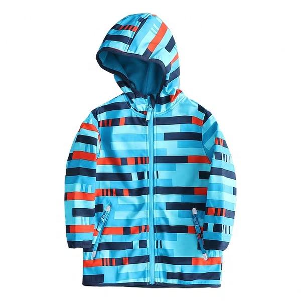 Custom outdoor waterproof breathable kids softshell jacket, boys softshell fleece jacket, kids soft shell jacket