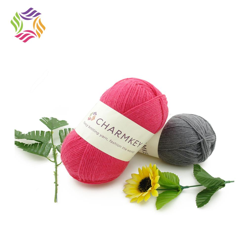 Charmkey superwash wool and nylon blend yarn soft-feeling solid color knitting yarn