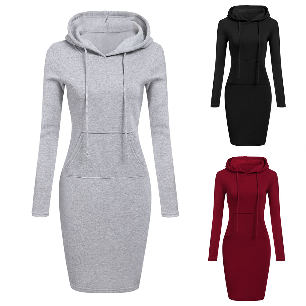 Women 2021 Autumn Solid Color Knit Autumn Winter Women Hoodie Dress Women
