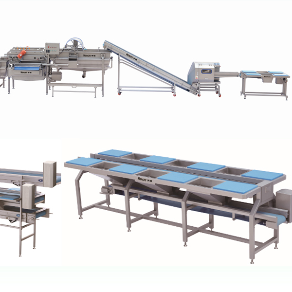 China industrial conveyor workstation for vegetable fruits washing conveying machine