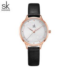 Shengke Модные Простые Женские часы женские повседневные кожаные кварцевые часы женские часы Relogio Feminino Montre Femme(China)