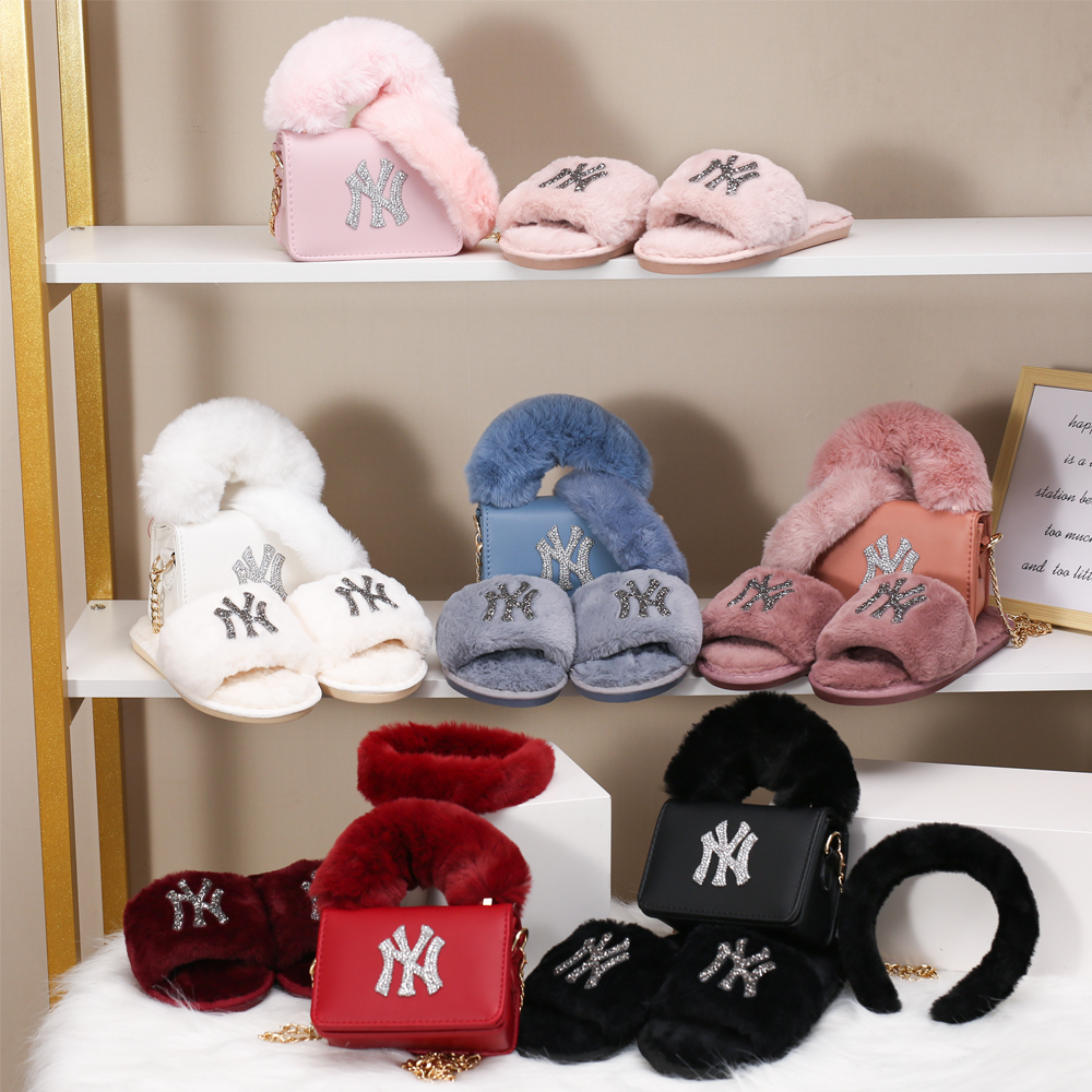 New Arrivals Furry Hair Accessories Fur Slippers and Purses Set Hand Bags Ladies 2021 Handbags for Women Purses