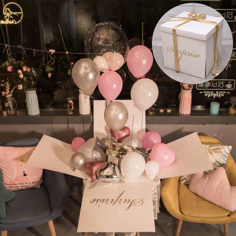 Tiktok Surprise Explosion Box Confession Balloon Box Proposal for a Girlfriend Birthday Cake Gift Flower Box