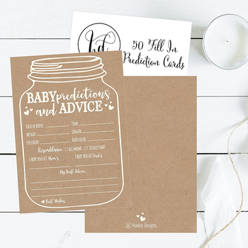 Wholesale Baby Shower Prediction and Advice Card - Baby Shower Invitations Diaper Raffle Tickets, Baby Shower Book Request Cards