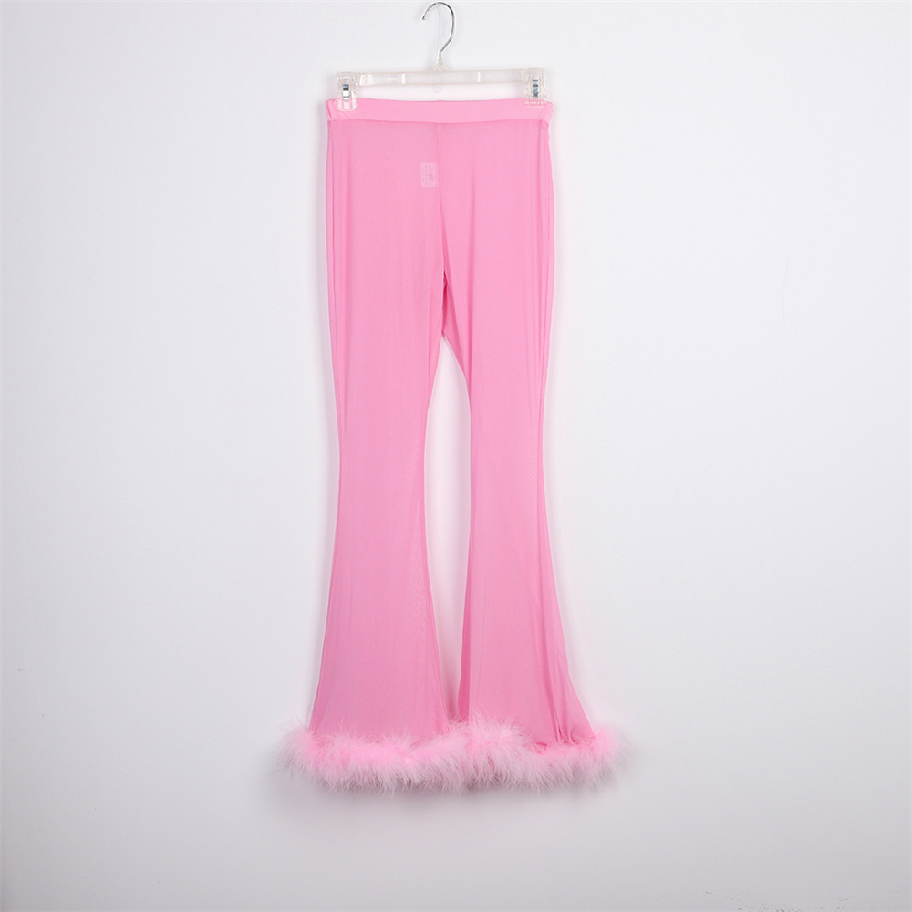 Сексуальный просвечивающий Женский комплект, Стрейчевые облегающие вечерние штаны с перьями + короткие топы, сетчатый клубный наряд, наряд...(Китай)