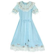 Женское платье, летнее, женское, Mori Girl, свежее, милое, небесно-голубое, ТРАПЕЦИЕВИДНОЕ, миди, шифоновое платье, повседневное, свободное, длинн...(Китай)