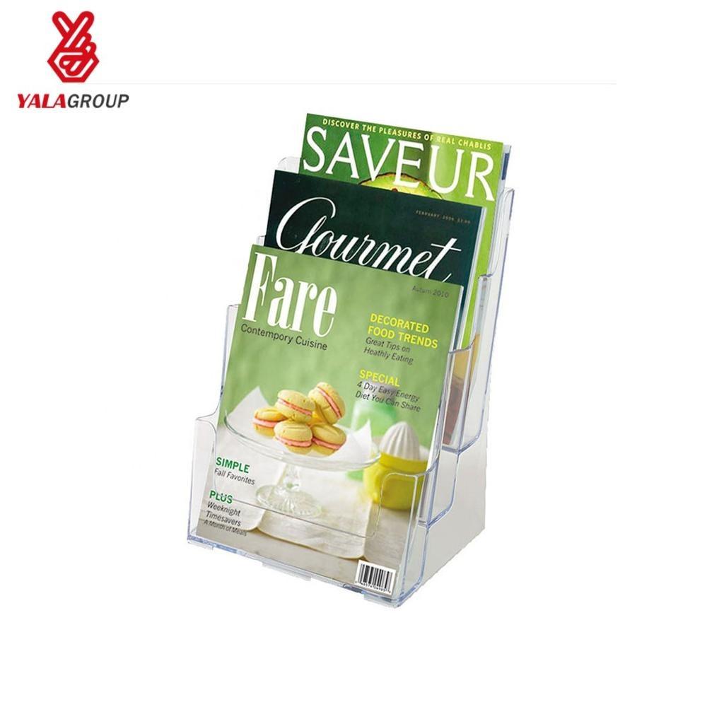 A4 оптовая продажа Настольный листовка держатель акриловый пластик брошюра держатель