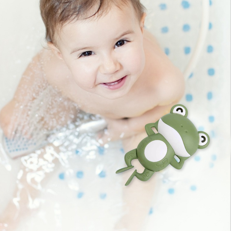 2021 Wholesale Baby toy animal funny water chain clockwork swimming little baby wind-up toys floating frog bath toys