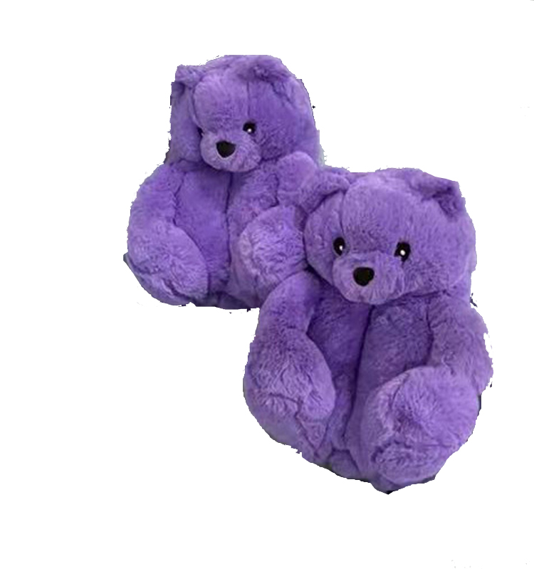 Wholesale Teddy Bear Slippers Floor Home Furnishing Plush Thick Cotton Warm Shoes