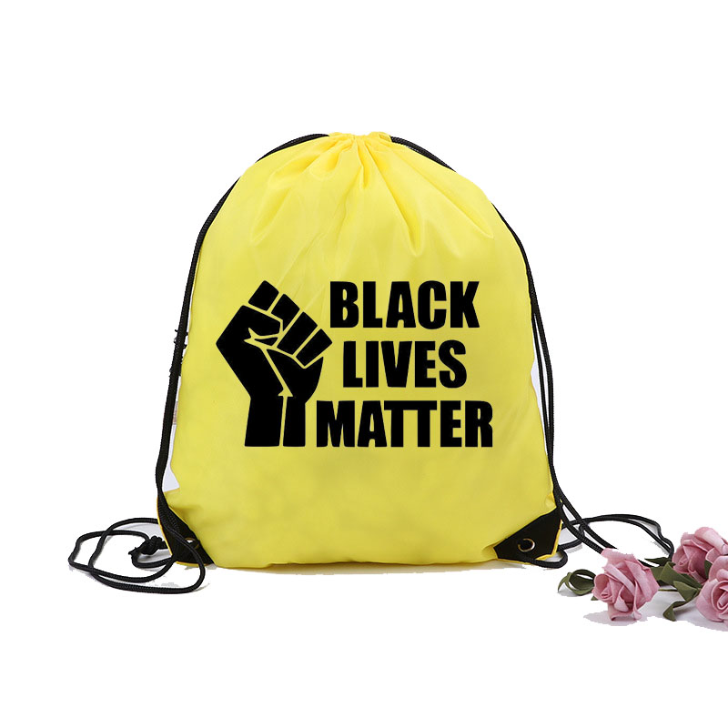 Custom Printed I Can't Breathe Sports black lives matter 210D Polyester Drawstring Bags