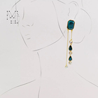 Alloy Earrings In Stock Fast Shipping Stylish Long Chain Drop Fashion Gold Plated Emerald Crystal Alloy Drop Earrings