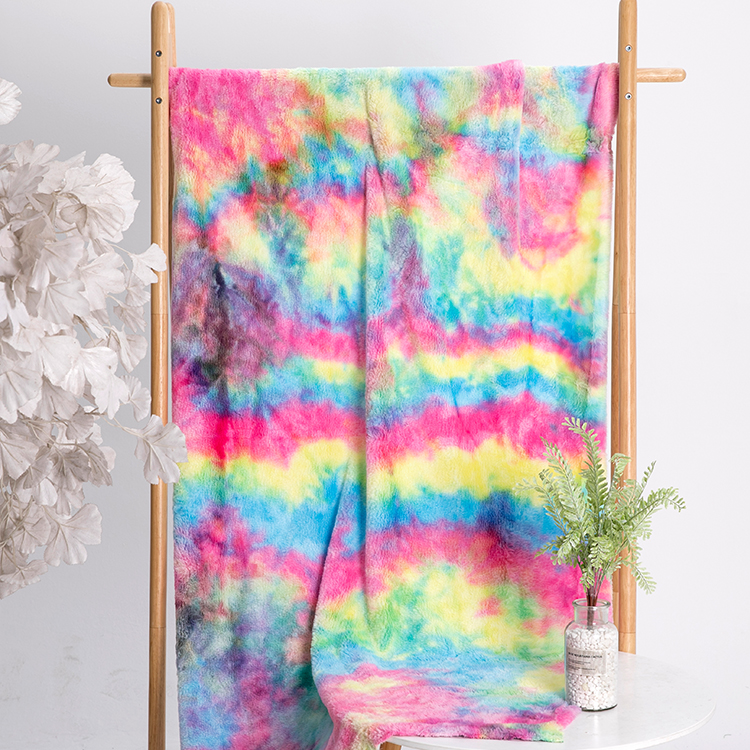 New arrival fabric popular tie dyed plush double side tie dyed minky for blanket