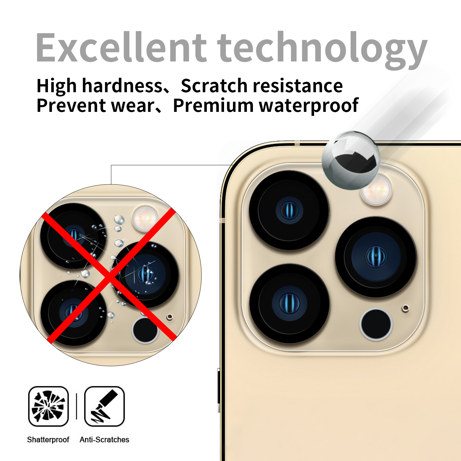 Factory Supply Clear Good Quality Full Glue Silk Print Back Tempered Glass Camera Lens Protector for iPhone 13 mini