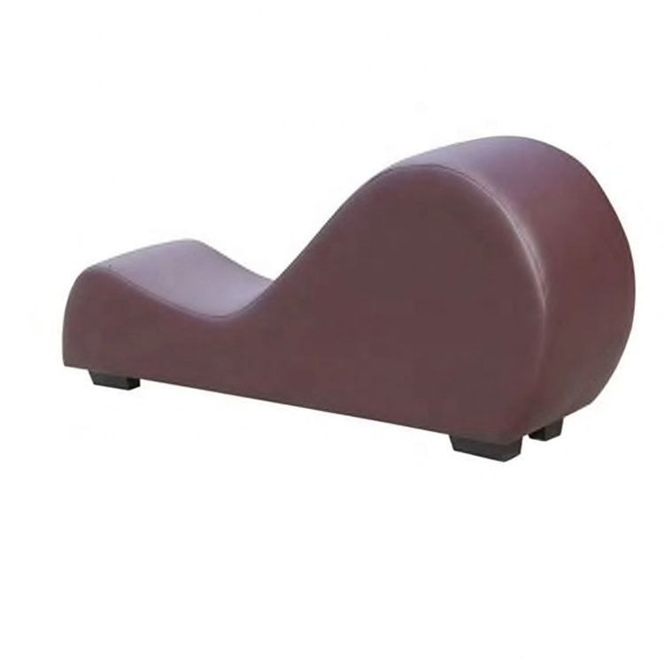 brown adult hotel sex chair for making love stretch chaise curved yoga sex lounge chair love sofa chair sex furniture