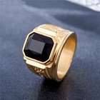 Titanium Ring Rings Mens Vintage Gemstone Titanium Steel Man's Gold Plating Ring
