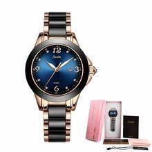 Женские часы с керамическим и легированным ремешком, аналоговые, модные(China)