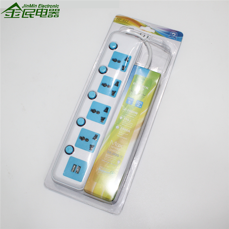 Multi Color American Standard 6-Outlet Surge Protector Electrical Power Strip 110V