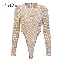 ArtSu, облегающее, на молнии, облегающее, Сетчатое боди, для женщин, с длинным рукавом, обтягивающее, сексуальное, цельное, боди, костюмы, наряды,...(Китай)