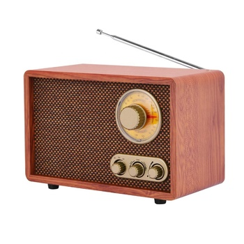 Classic design portable vintage retro wooden FM radio