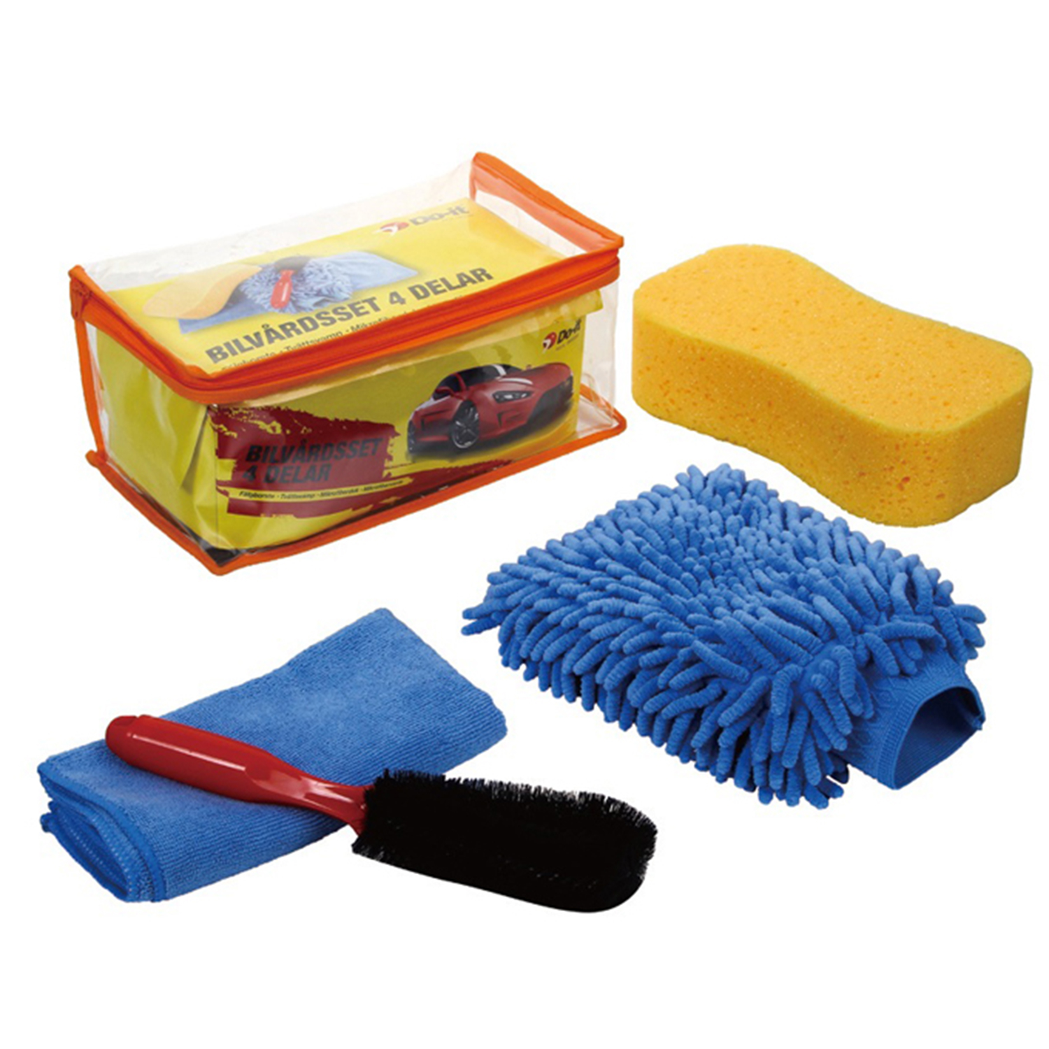 Microfiber car cleaning towel, with chenille mitt car cleaning kit