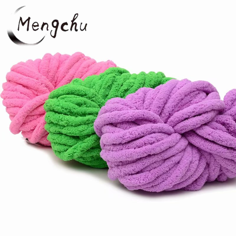 Wholesale price soft 35 colors 2cm Jumbo Chunky thick Knit Vegan Chenille Yarn arm knitting yarn chunky for blanket