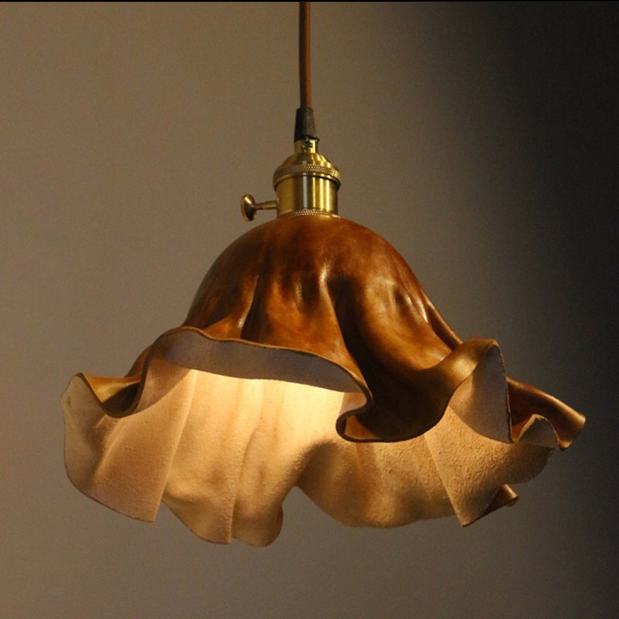 Factory custom Leather Lampshade Round Light Cover Home Lighting Decoration lamp cover