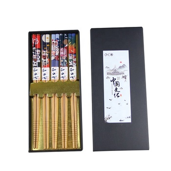 Japanese Style Beckoning Cat Pattern Bamboo Chopsticks Set for Wholesale with Chinese Culture Customized Gift Box Five Pairs in