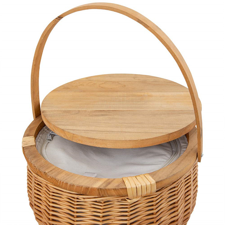 Linshu Factory Round Wine Insulated Cooler Bag Wicker Gift Picnic Basket with wood lid Handle
